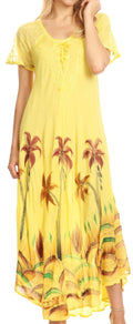 Sakkas Irem Women  Everyday Caftan Long Dress Kaftan with Corset and Lace Sleeves#color_Butter Yellow