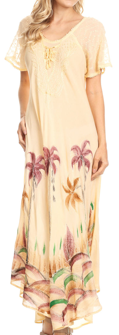 group-Cream (Sakkas Irem Women  Everyday Caftan Long Dress Kaftan with Corset and Lace Sleeves)