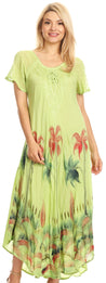 group-Lime Green (Sakkas Irem Women  Everyday Caftan Long Dress Kaftan with Corset and Lace Sleeves)