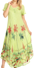 Sakkas Irem Women  Everyday Caftan Long Dress Kaftan with Corset and Lace Sleeves#color_Lime Green