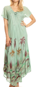 Sakkas Irem Women  Everyday Caftan Long Dress Kaftan with Corset and Lace Sleeves#color_Light Green