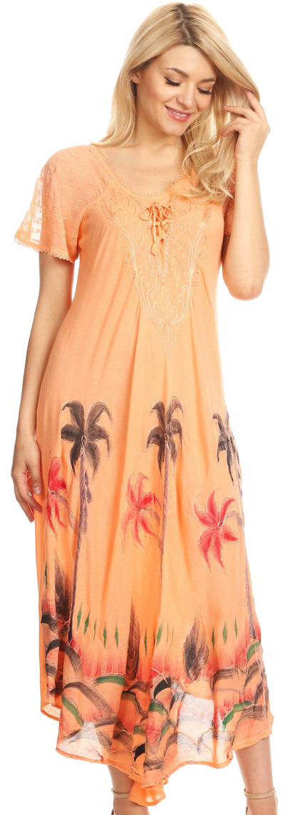 group-Peach (Sakkas Irem Women  Everyday Caftan Long Dress Kaftan with Corset and Lace Sleeves)