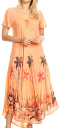 Sakkas Irem Women  Everyday Caftan Long Dress Kaftan with Corset and Lace Sleeves#color_Peach