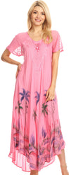 group-Pink (Sakkas Irem Women  Everyday Caftan Long Dress Kaftan with Corset and Lace Sleeves)