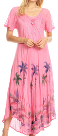 Sakkas Irem Women  Everyday Caftan Long Dress Kaftan with Corset and Lace Sleeves#color_Pink