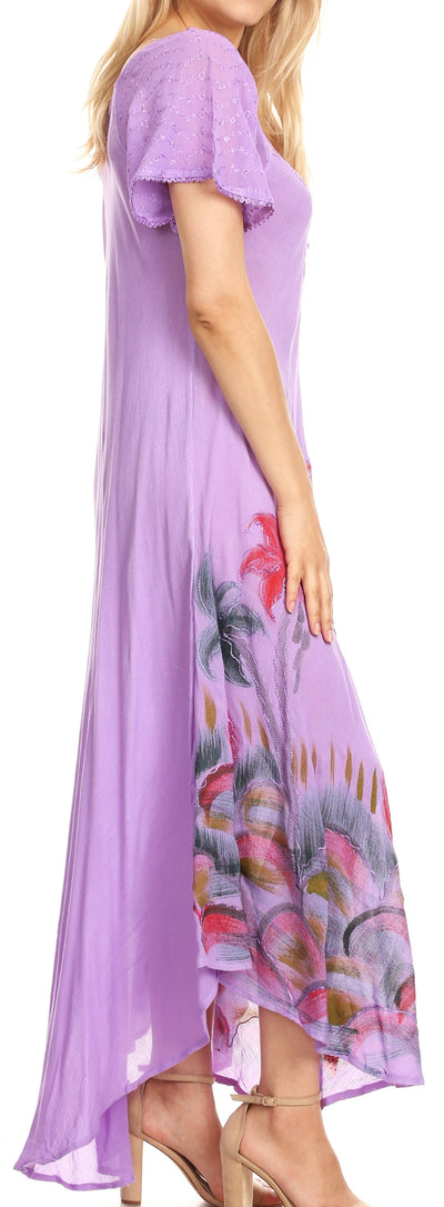 group-Purple (Sakkas Irem Women  Everyday Caftan Long Dress Kaftan with Corset and Lace Sleeves)