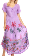 Sakkas Irem Women  Everyday Caftan Long Dress Kaftan with Corset and Lace Sleeves#color_Purple