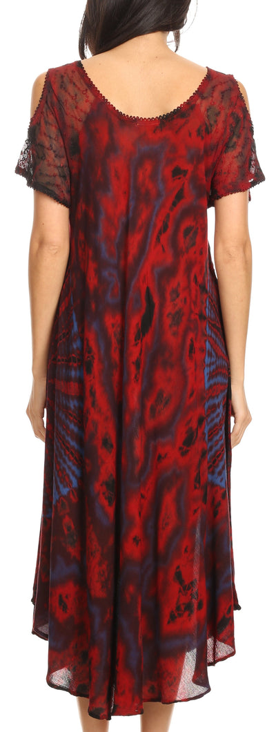 group-Fuschia (Sakkas Ada Women Cold Shoulder Caftan Relax Long Maxi Dress on Tie-dye with Corset)