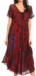 Sakkas Ada Women Cold Shoulder Caftan Relax Long Maxi Dress on Tie-dye with Corset#color_Fuschia