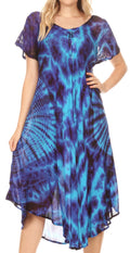Sakkas Ada Women Cold Shoulder Caftan Relax Long Maxi Dress on Tie-dye with Corset#color_Turq