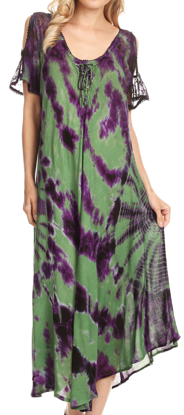 Sakkas Ada Women Cold Shoulder Caftan Relax Long Maxi Dress on Tie-dye with Corset#color_Green