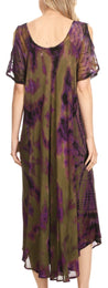 group-Olive (Sakkas Ada Women Cold Shoulder Caftan Relax Long Maxi Dress on Tie-dye with Corset)