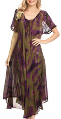 Sakkas Ada Women Cold Shoulder Caftan Relax Long Maxi Dress on Tie-dye with Corset#color_Olive