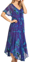 group-Purple (Sakkas Ada Women Cold Shoulder Caftan Relax Long Maxi Dress on Tie-dye with Corset)