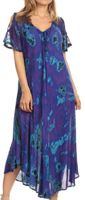 Sakkas Ada Women Cold Shoulder Caftan Relax Long Maxi Dress on Tie-dye with Corset#color_Purple