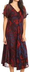 group-Red (Sakkas Ada Women Cold Shoulder Caftan Relax Long Maxi Dress on Tie-dye with Corset)