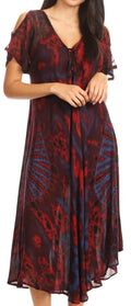 Sakkas Ada Women Cold Shoulder Caftan Relax Long Maxi Dress on Tie-dye with Corset#color_Red