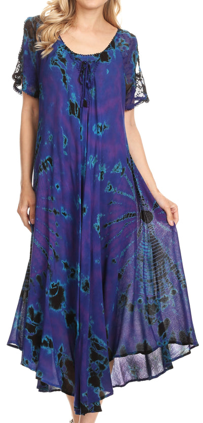 group-Royal Blue (Sakkas Ada Women Cold Shoulder Caftan Relax Long Maxi Dress on Tie-dye with Corset)