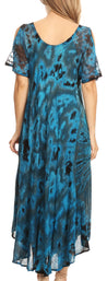 group-Teal (Sakkas Ada Women Cold Shoulder Caftan Relax Long Maxi Dress on Tie-dye with Corset)