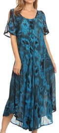 Sakkas Ada Women Cold Shoulder Caftan Relax Long Maxi Dress on Tie-dye with Corset#color_Teal