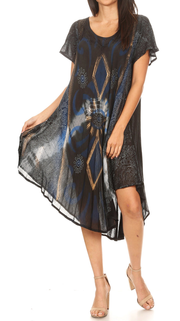 Sakkas Dalila Women's Midi A-line Short Sleeve Boho Swing Dress Cover-up Nightgown#color_19109-Black