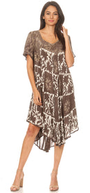 Sakkas Dalila Women's Midi A-line Short Sleeve Boho Swing Dress Cover-up Nightgown