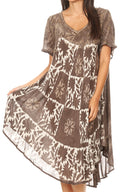 Sakkas Dalila Women's Midi A-line Short Sleeve Boho Swing Dress Cover-up Nightgown#color_Chocolate