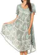 Sakkas Dalila Women's Midi A-line Short Sleeve Boho Swing Dress Cover-up Nightgown#color_Mint