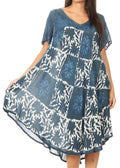 Sakkas Dalila Women's Midi A-line Short Sleeve Boho Swing Dress Cover-up Nightgown#color_Navy