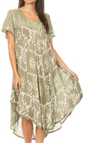 Sakkas Dalila Women's Midi A-line Short Sleeve Boho Swing Dress Cover-up Nightgown#color_Olive