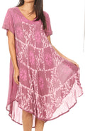 Sakkas Dalila Women's Midi A-line Short Sleeve Boho Swing Dress Cover-up Nightgown#color_Pink