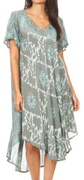 Sakkas Dalila Women's Midi A-line Short Sleeve Boho Swing Dress Cover-up Nightgown#color_Turquoise