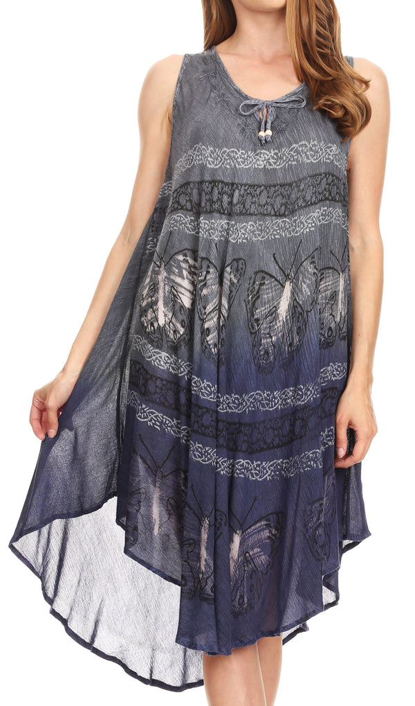 Sakkas Etta Women's Sleeveless Casual Summer Maxi Loose Fit Tie Dye Long Dress  #color_19107-C3