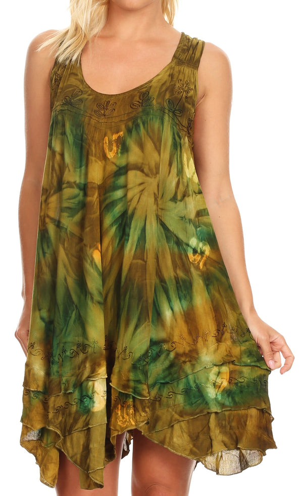 Sakkas Artemi Women's Casual Short Tie-dye Sleeveless Loose Tank Dress Cover-up#color_191477-AvocadoGreen