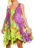 Sakkas Artemi Women's Casual Short Tie-dye Sleeveless Loose Tank Dress Cover-up#color_191477-GreenPurple