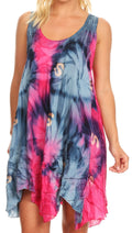 Sakkas Artemi Women's Casual Short Tie-dye Sleeveless Loose Tank Dress Cover-up#color_191477-PinkNavy