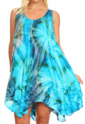 Sakkas Artemi Women's Casual Short Tie-dye Sleeveless Loose Tank Dress Cover-up#color_191477-TurqGray