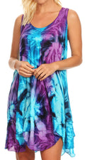 Sakkas Artemi Women's Casual Short Tie-dye Sleeveless Loose Tank Dress Cover-up#color_191477-TurqPurple