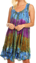 Sakkas Artemi Women's Casual Short Tie-dye Sleeveless Loose Tank Dress Cover-up#color_191478-BlueGold