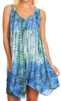 Sakkas Artemi Women's Casual Short Tie-dye Sleeveless Loose Tank Dress Cover-up#color_191478-BlueGreen