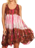 Sakkas Artemi Women's Casual Short Tie-dye Sleeveless Loose Tank Dress Cover-up#color_191478-BrownPink