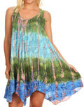 Sakkas Artemi Women's Casual Short Tie-dye Sleeveless Loose Tank Dress Cover-up#color_191478-GreenPink