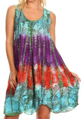Sakkas Artemi Women's Casual Short Tie-dye Sleeveless Loose Tank Dress Cover-up#color_191478-TurqGreen