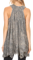 Sakkas Artemi Women's Casual Short Tie-dye Sleeveless Loose Tank Dress Cover-up