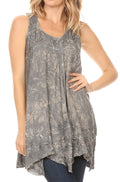 Sakkas Artemi Women's Casual Short Tie-dye Sleeveless Loose Tank Dress Cover-up#color_19476-Grey
