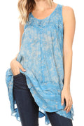Sakkas Artemi Women's Casual Short Tie-dye Sleeveless Loose Tank Dress Cover-up#color_19476-LightBlue