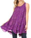 Sakkas Artemi Women's Casual Short Tie-dye Sleeveless Loose Tank Dress Cover-up#color_19476-Purple