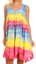 Sakkas Artemi Women's Casual Short Tie-dye Sleeveless Loose Tank Dress Cover-up#color_TurqYellow
