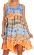Sakkas Artemi Women's Casual Short Tie-dye Sleeveless Loose Tank Dress Cover-up#color_BlueOrange