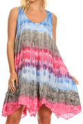 Sakkas Artemi Women's Casual Short Tie-dye Sleeveless Loose Tank Dress Cover-up#color_BluePink